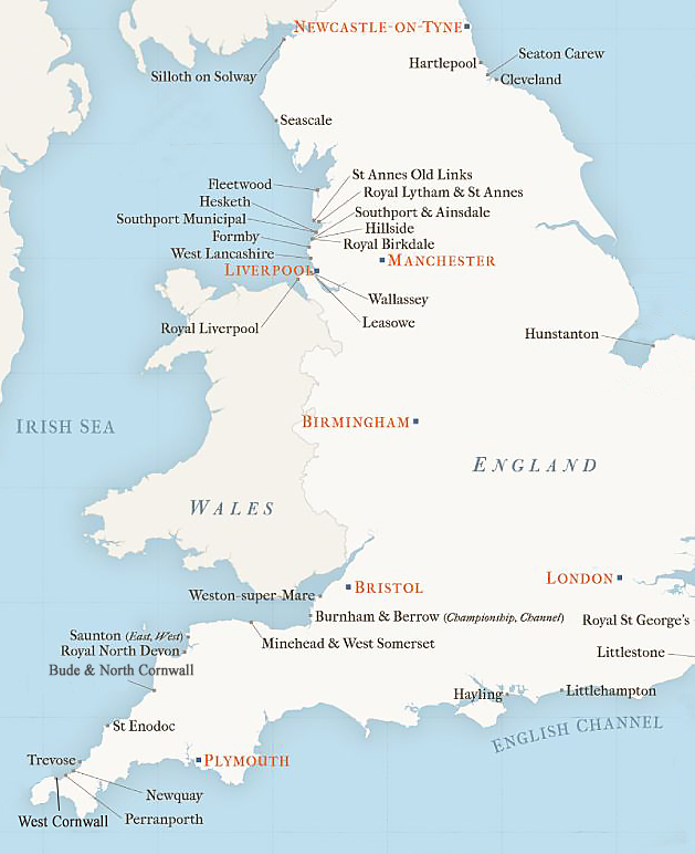 Map of England with golf courses copy